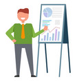 join to our team male near board with graphs vector image