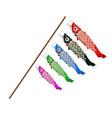 koinobori japanese fish kite on a white background vector image