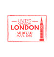 london arrival ink stamp on passport vector image vector image