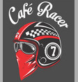 motorcycle rider helmetwith tex cafe racer hand vector image vector image