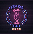 neon sign cocktail bar on brick wall background vector image vector image