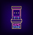 neon sign of retro slot machine game zone vector image vector image