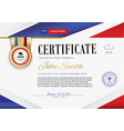 official white certificate with red violet ribbons vector image vector image