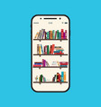 online book library ebook in mobile electronic vector image vector image