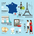 Paris France Flat Icons Design Travel Concept vector image vector image