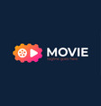 play icon with video gear logo - made movie vector image vector image