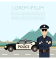 Police on the road banner vector image
