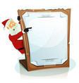 santa claus pointing christmas background vector image vector image