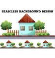 Seamless background with house on the road vector image vector image