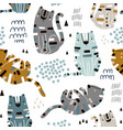 seamless childish pattern with cute tigers vector image vector image