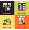 set of hotel square posters in flat style vector image vector image