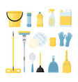 set of household clining supplies vector image