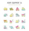set retro icons heavy equipment vector image