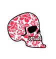 skull of flowers head of skeleton and flower vector image vector image