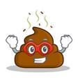 super hero poop emoticon character cartoon vector image vector image