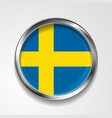 Swedish metal button flag vector image vector image