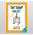 Toy shop sale flyer design with baby crib mobile vector image vector image