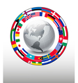 Travel background Globe with a strip of flags vector image vector image