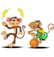 Two monkey cartoon vector image vector image