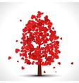 Valentine tree with red falling hearts for your vector image vector image