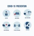variety coronavirus prevention set vector image vector image
