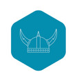 viking helmet icon outline style vector image vector image
