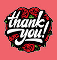 white calligraphic inscription thank you with vector image