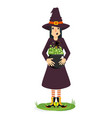 witch and cauldron vector image vector image