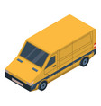 yellow delivery car icon isometric style vector image vector image