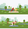 yoga postnatal exercises banners set with mom and vector image vector image