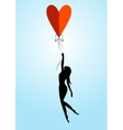 girl with balloon in the form of heart vector image