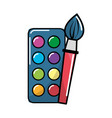 paint palette with brush art tool vector image