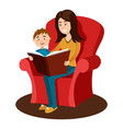 mother read book to child cartoon vector image