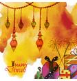 watercolor diwali background vector image