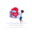 african american woman holding big gift box with vector image