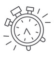 alarm clock thin line icon time and clock watch vector image vector image