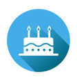 birthday cake flat icon fresh pie muffin on blue vector image