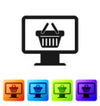 black computer monitor with shopping basket icon vector image vector image
