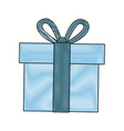 blue gift box wrapped ribbon bow decoration vector image vector image