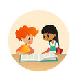 boy and girl reading book and talking to each vector image vector image