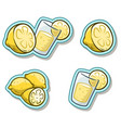 cartoon glass with lemonade and lemon sticker icon vector image