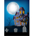 cartoon haunted house with halloween background vector image vector image