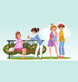 cartoon pregnant woman with lesbian lover in park vector image