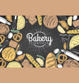 chalk drawing bakery background top view vector image