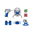 check control medical mask and gloves thermometer vector image vector image