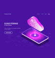 cloud storage in your phone concept hologram vector image vector image
