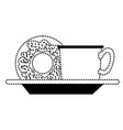 coffee cup and donut on dish in black dotted vector image