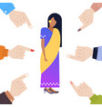 depressed indian woman being bullied surrounded by vector image vector image