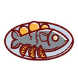 dorado fish with lemon slices on plate isolated vector image vector image