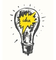 Drawn light bulb idea concept vintage vector image